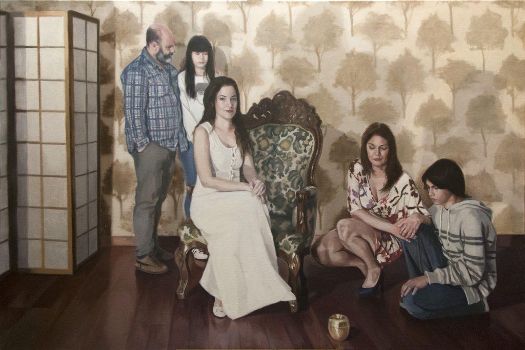 Imagen de una pintura en oleo que representa a un retrato familiar. Es una pintura sistémica.